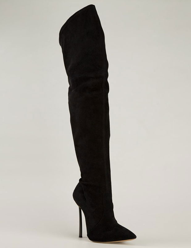 0c82139c583b ... Over Knee Boots High Heel Suede Black Pointed Toe Thigh High Boots-No.4  ...