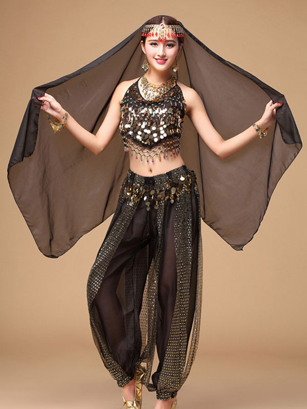Belly Dance Costume Black Chiffon Women's Bollywood Dance Dress in 3 Piece