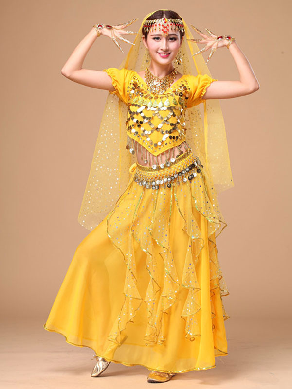 Belly Dance Costume Yellow Chiffon Sparkle Bollywood Dance Dress for Women