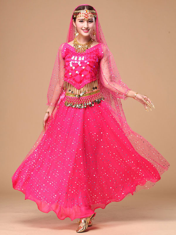 Belly Dance Costume Sparkled Chiffon Bollywood Dance Dress