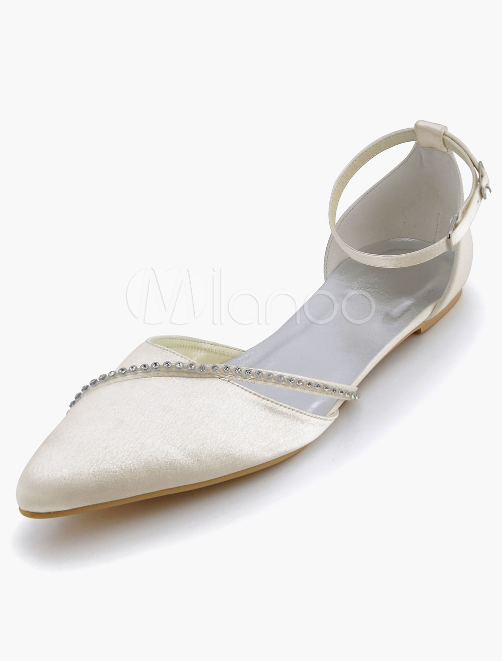 Satin Wedding Shoes Pointed toe Rhinestones Wedding Guest Shoes Flat Mother Shoes