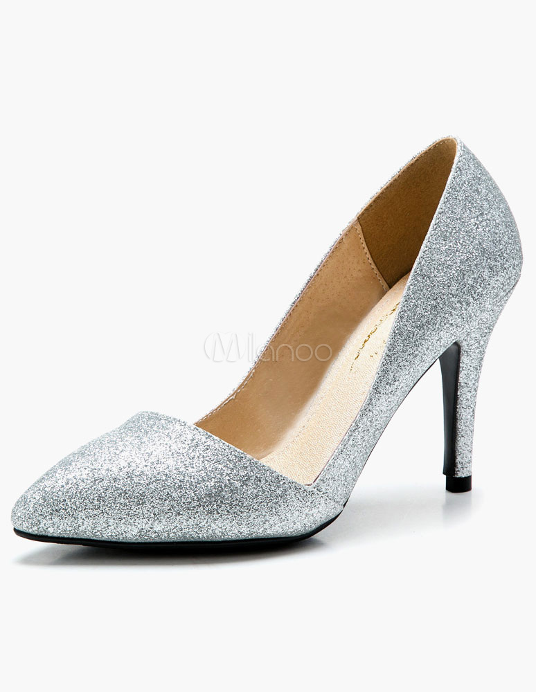 Pointed Toe Glitter Pumps For Bride