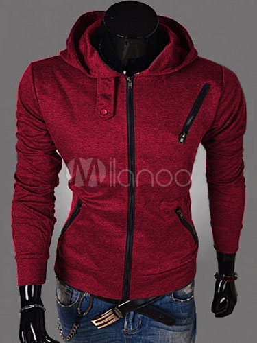 Full Zip Hoodie Men Sweatshirt Burgundy Assassins Creed Hoodie