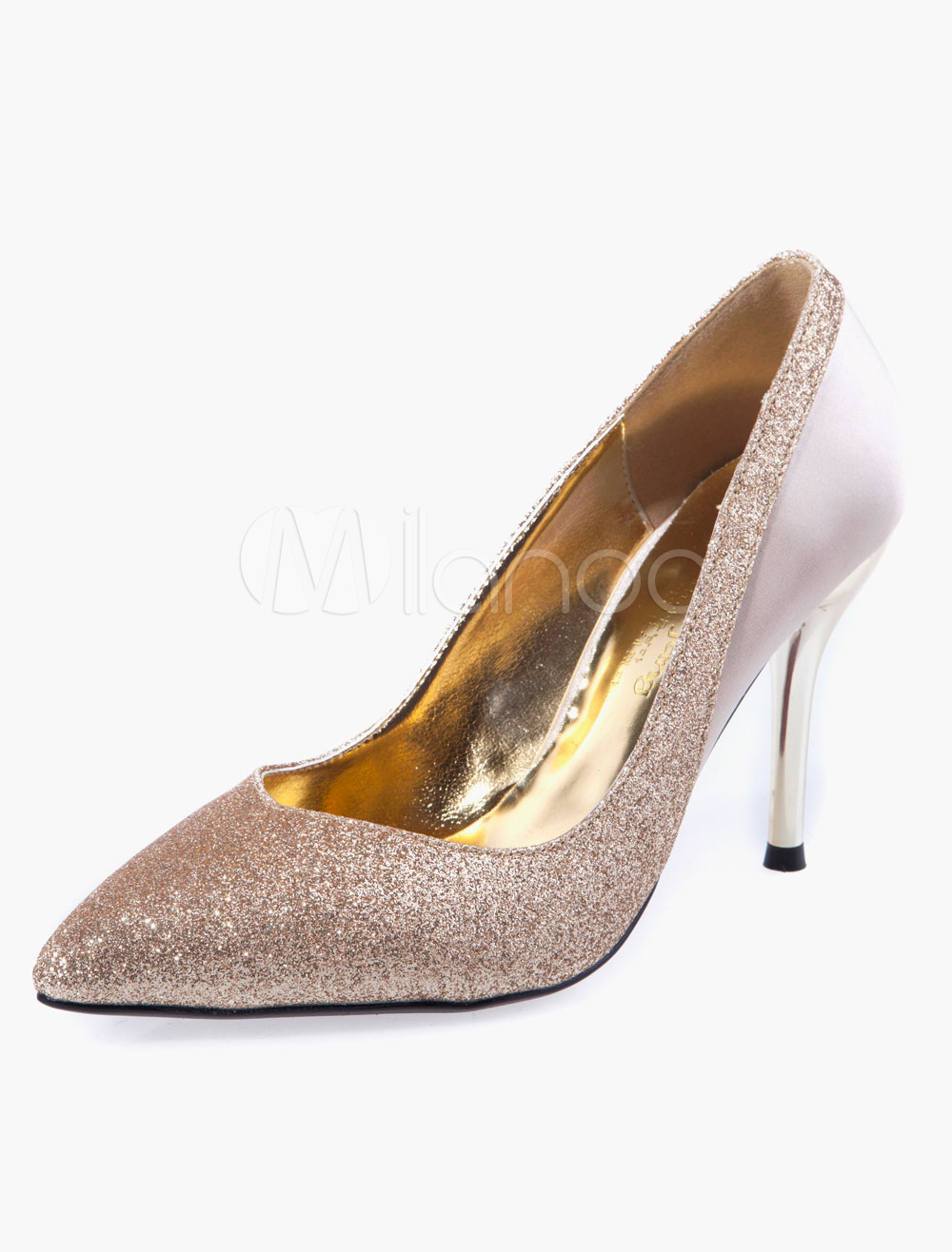 Pointed Toe Glitter Bridal Pumps