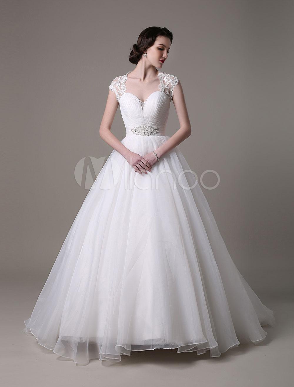 2018 Wedding Dresses Queen Anne Neckline Bridal Gown Organza Lace Rhinestones Beading Pleated Sash Train Bridal Dress Milanoo