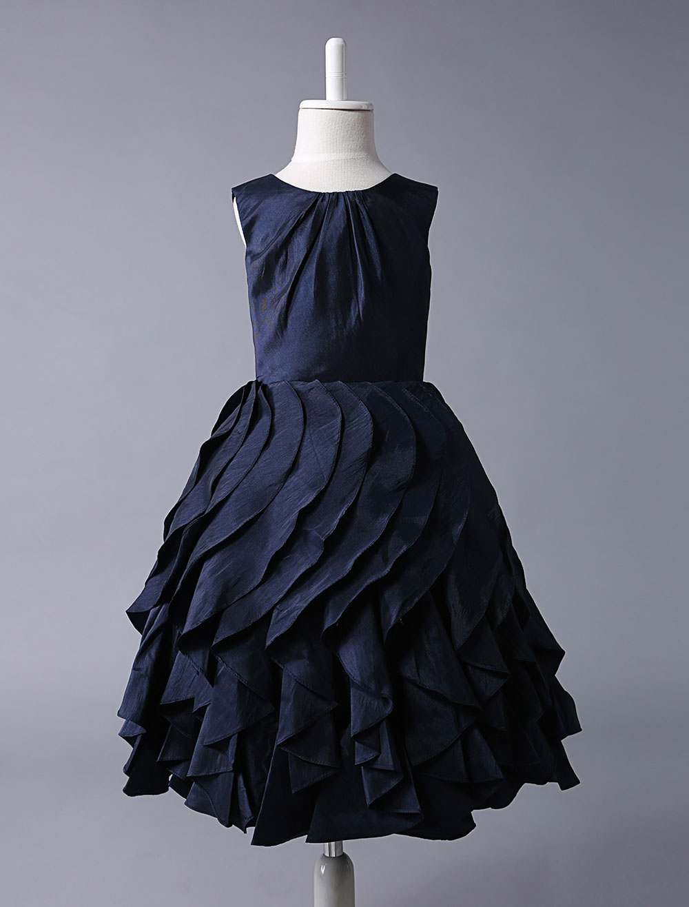 Navy Blue Taffeta Flower Girl Dress With Ruffle Skirt