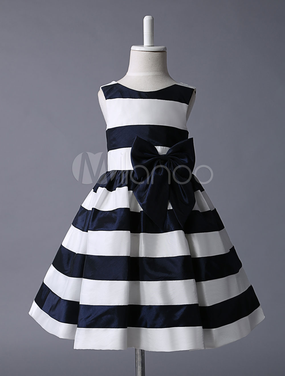 Flower Girl Dress Ivory Navy Blue Stripes Taffeta Sleeveless Pleated Kids Party Dresses With Bow