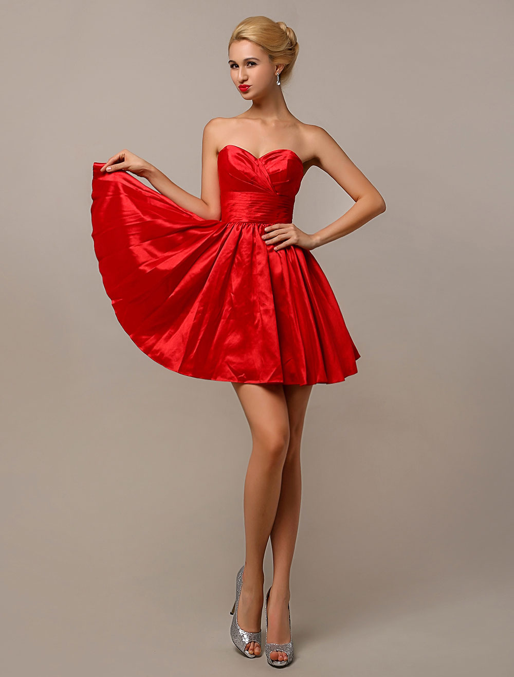 Strapless Short Satin Bridesmaid Dress