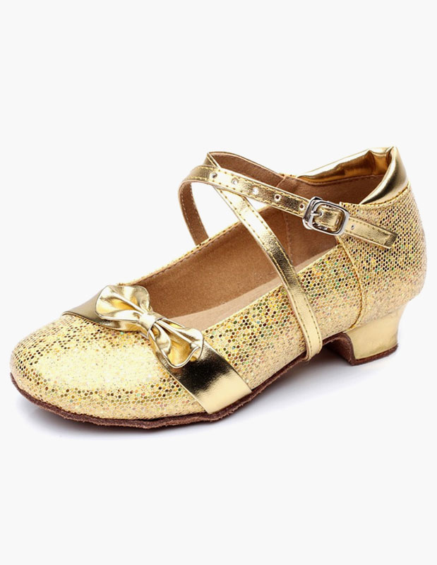 Glitter Ballroom Shoes Round Toe Bow Criss Cross Party Shoes For Kids