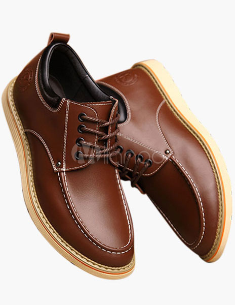 Men Shoes 2018 Cowhide Camel Round Toe Lace Up Elevator Shoes Casual Shoes