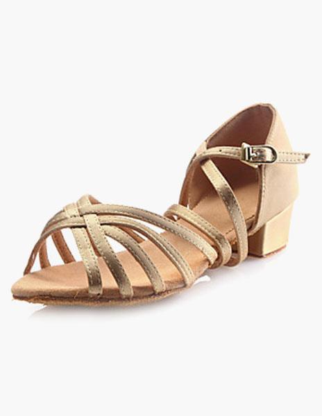 Ballroom Dance Shoes 2018 Satin Light Gold Open Toe Dance Shoes For Kids