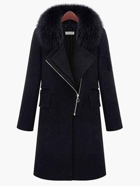 Graben Frauen Mantel 2020 Schwarz Kunstpelz Jacke Lange Ärmel Zippered Mantel