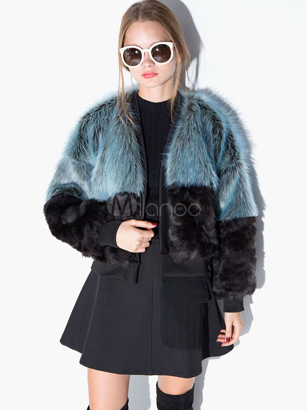 Color Block Faux Fur Jacket Cheap clothes, free shipping worldwide