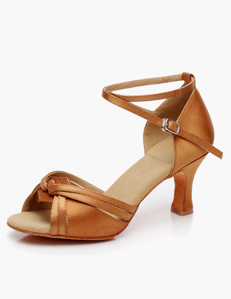 ... Chaussures danse latine en toile à talons épais ruban aux chevilles  -No. ...