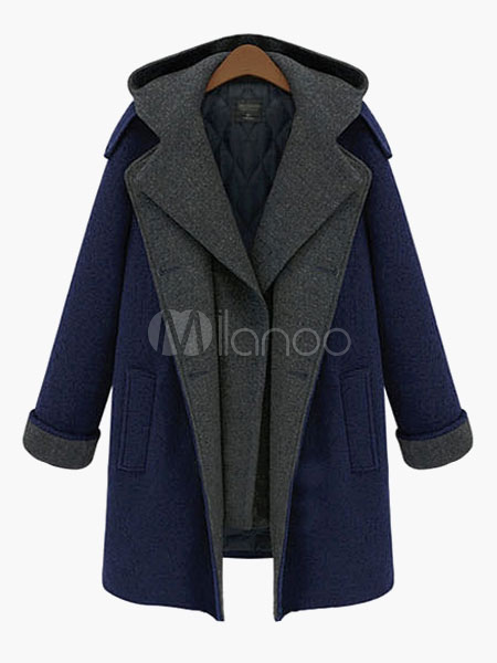 Two-Tone Hooded Wool Coat Cheap clothes, free shipping worldwide