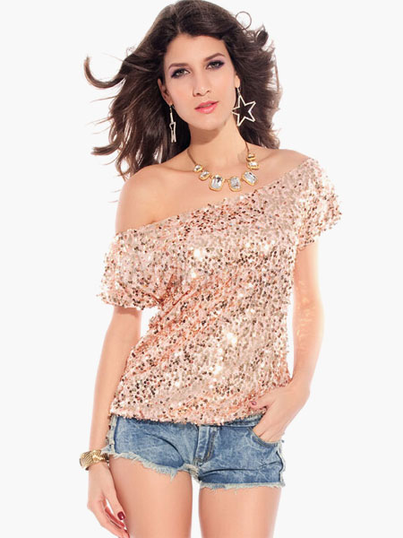 Pink Sequin Top Off The Shoulder Glitter Sexy Clubwear Top For Women Cheap clothes, free shipping worldwide