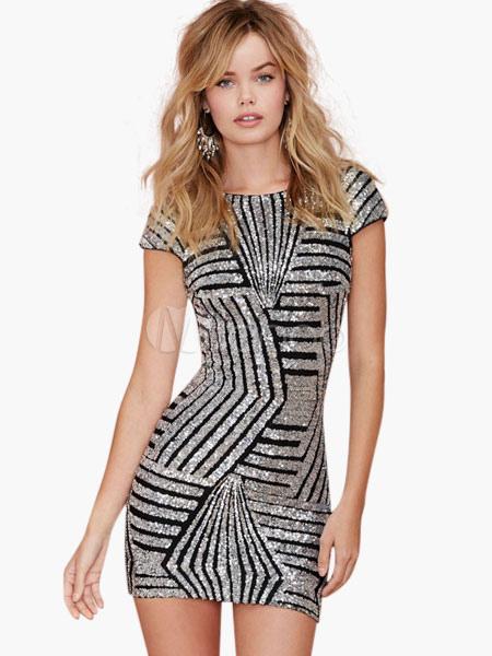 Glitter V-back Short Dress