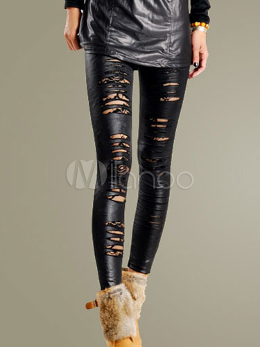Cut Out PU Leather Leggings Cheap clothes, free shipping worldwide