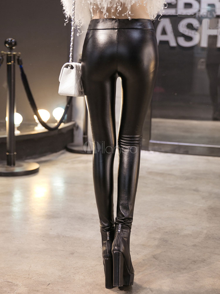 Fleece Lined Leather Stirrup Leggings Cheap clothes, free shipping worldwide
