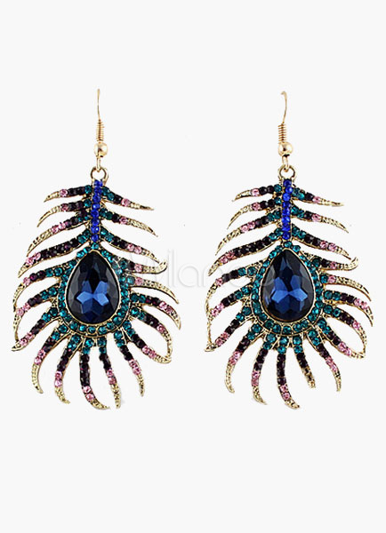 Splendid Peacock Blue Rhinestone Dangle Earring
