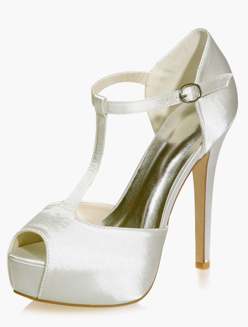 Peep Toe Satin Paltform Evening and Bridal Sandals