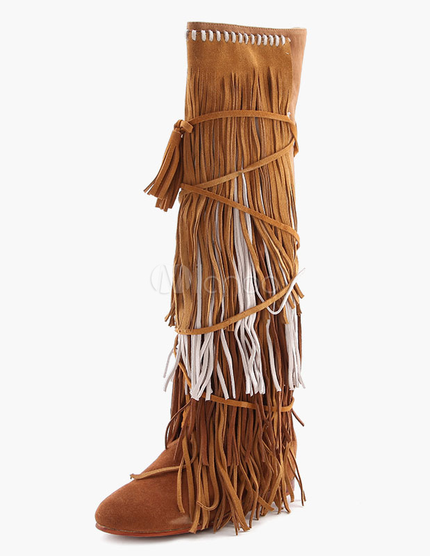 Fringed Suede Flat Knee Length Boots For Women