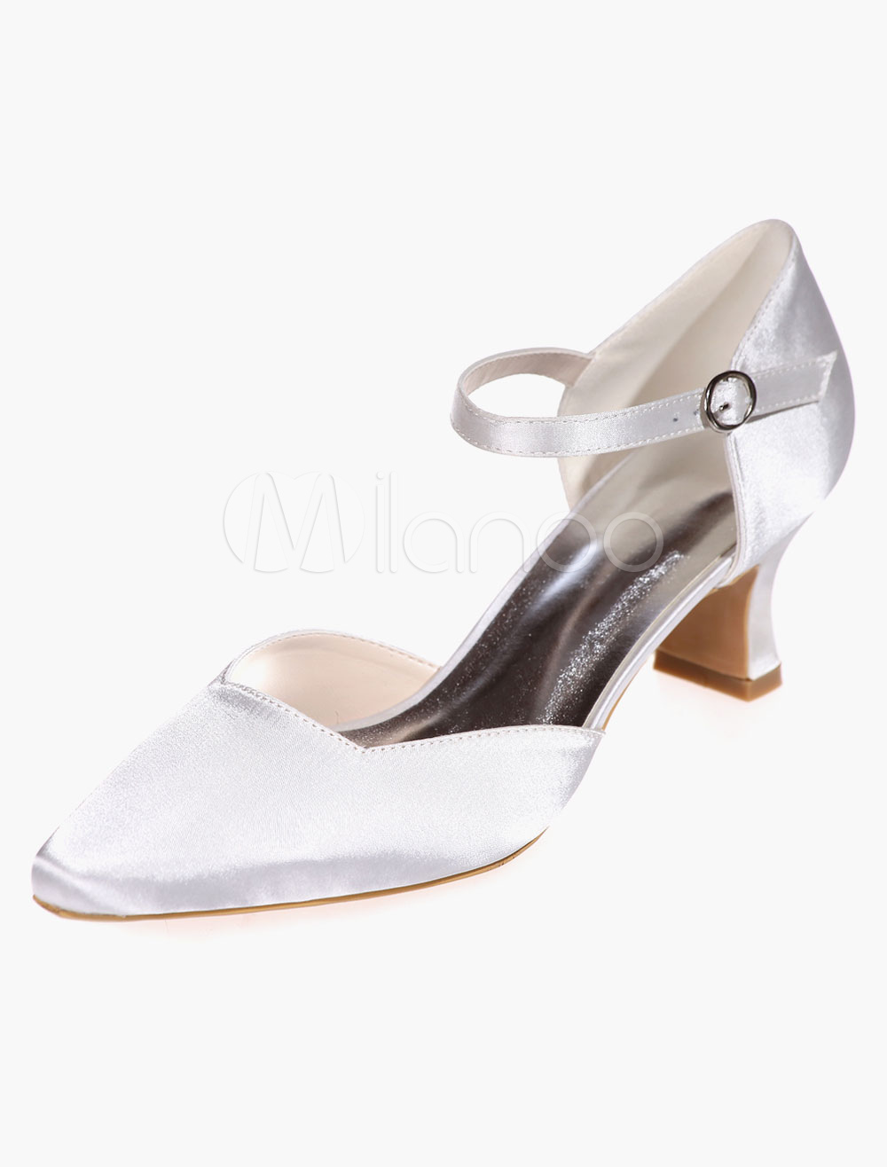 Square Toe Satin Bradal Pumps