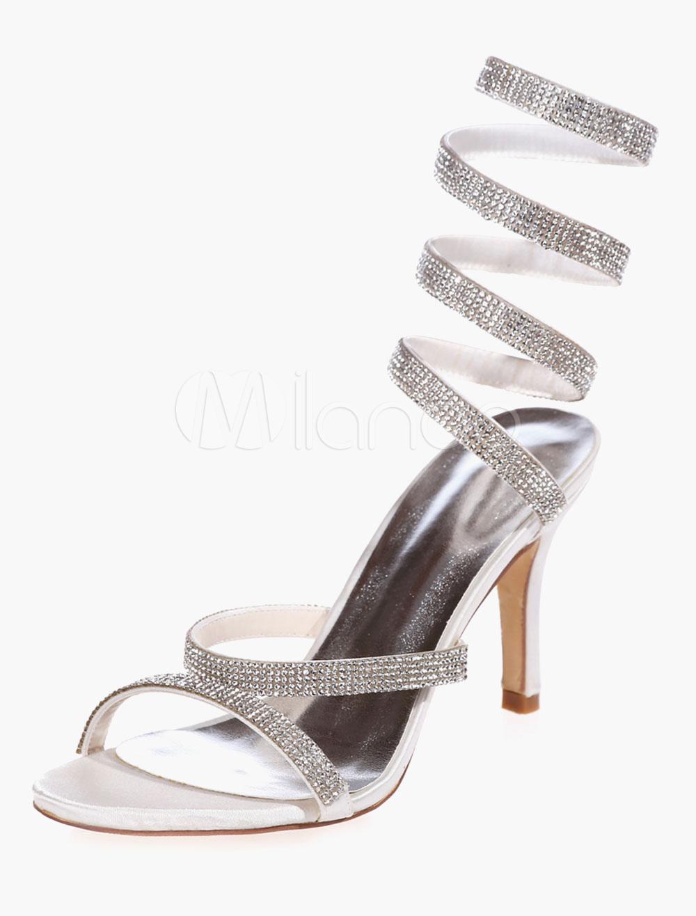 Buy Rhinestones Satin Evening & Bridal Sandals for $58.49 in Milanoo store