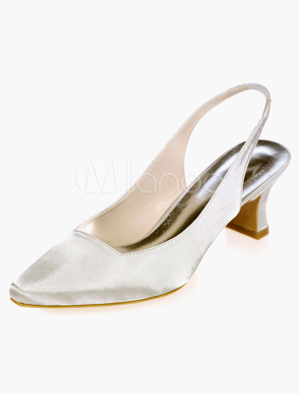 Square Toe Satin Evening and Bridal Sandals