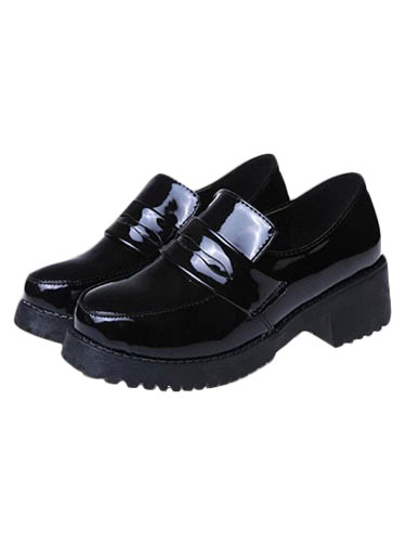 Girls Black Lolita Cosplay Shoes  Halloween
