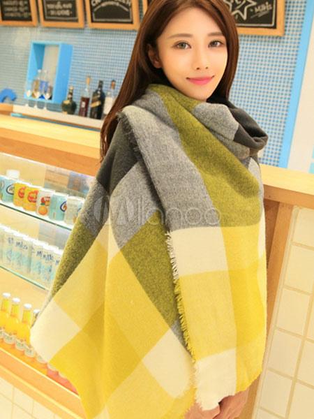 Split Color Plaid Blanket Scarf For Women