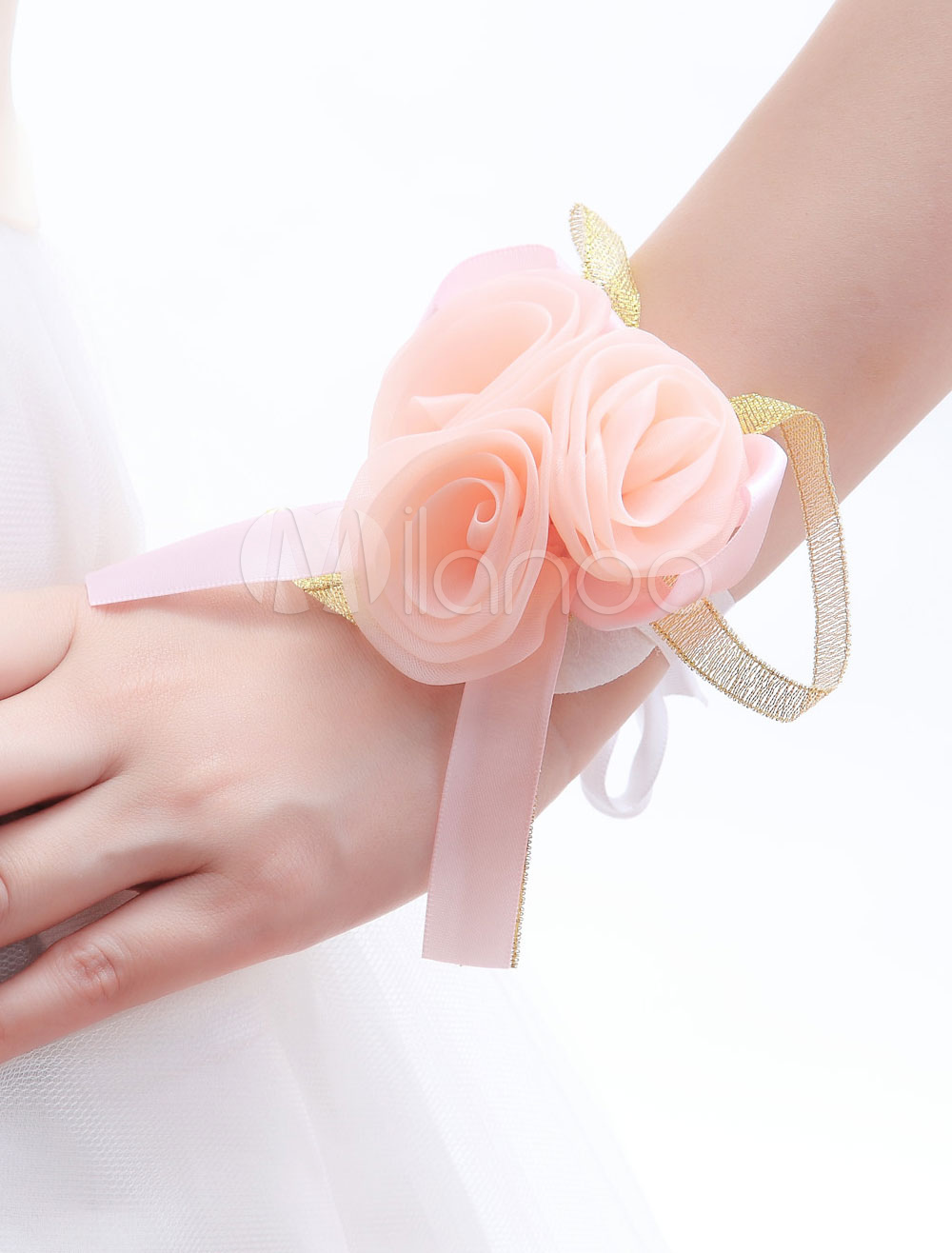Champagne Synthetic Wrist Corsage for Wedding