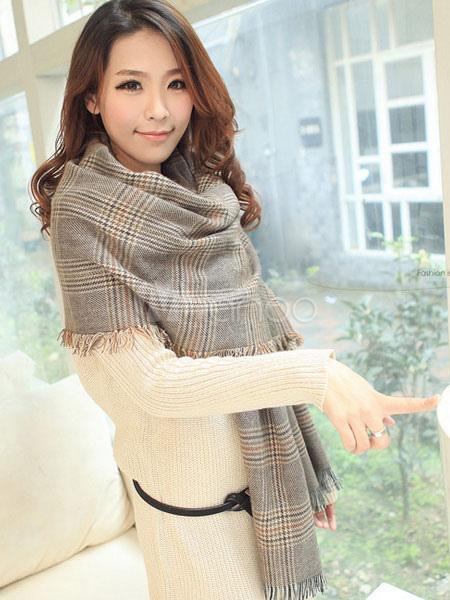 Light Tan Plaid Women's Winter Blanket Scarf