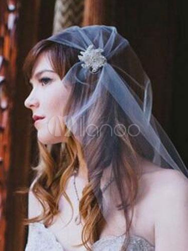 Juliet Cap Veil Wedding White Rhinestones Tulle Vintage Bridal Blusher Veil