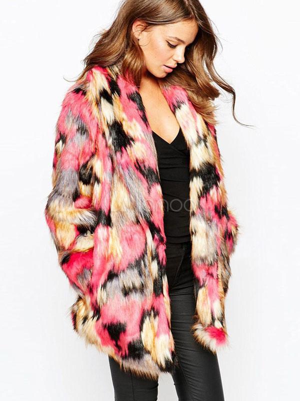29bf1dfb5f Multicolor Oversized Faux Fur Coat for Women - Milanoo.com