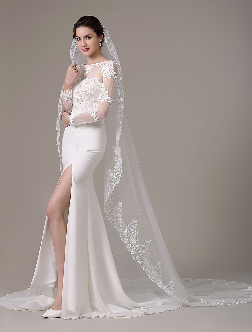 Ivory Lace Applique Edge Wedding Veils