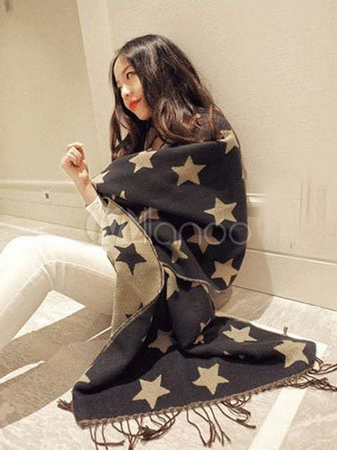 Woman's Star Print Fringed Winter Blanket Scarf