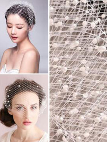 White Pearls Tulle Wedding Blusher Veil