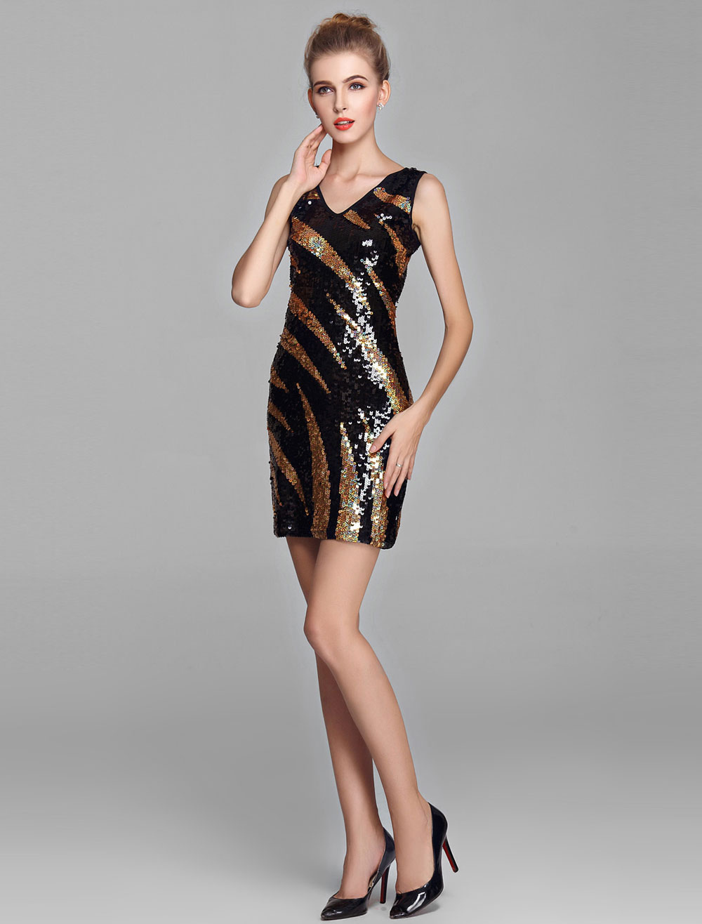 Fashion Double V-Look Sequin Gold and Black Cocktail Dress