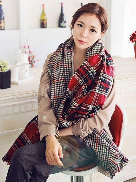 Fringed Plaid Winter Blanket Scarf For Women