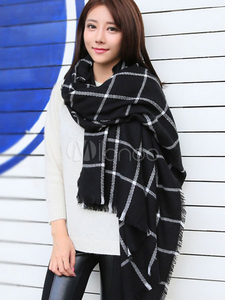 Black Knitted Plaid Blanket Scarf For Women