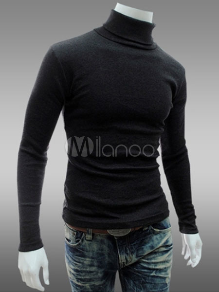 Turtleneck Shaping Cotton Pullover For Men