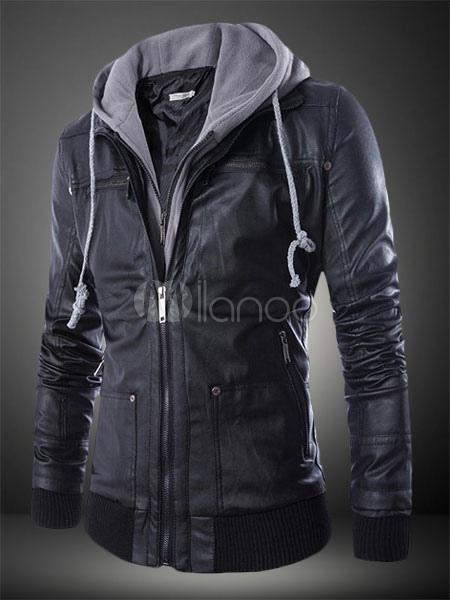 best service 01dc0 bed1f Con cappuccio PU Moto giacca di pelle per uomo