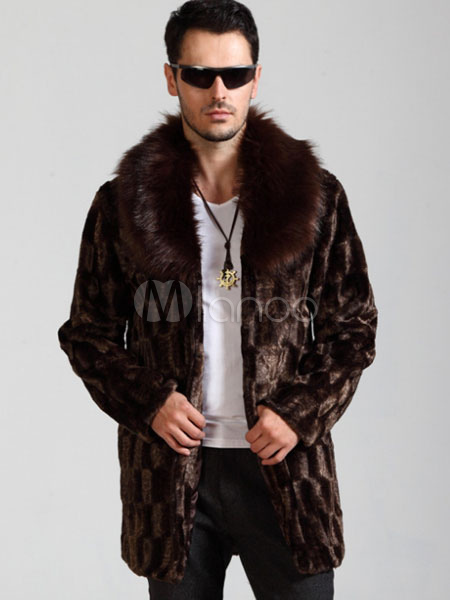 Oversized Men No Turndown Sleeve Faux Jacket Fur Overcoat Coat Collar Brown Winter Long OOq7nFpvrw
