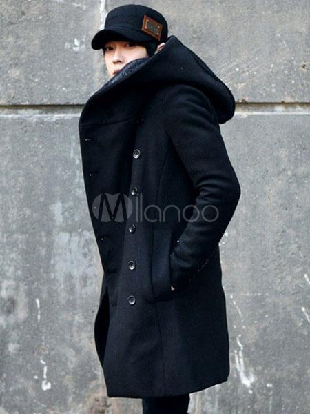 schwarzer wintermantel herren mantel mit kapuze. Black Bedroom Furniture Sets. Home Design Ideas