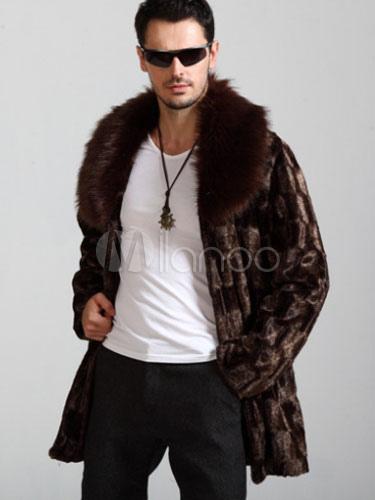 b9aa66fb24d38 Men Faux Fur Coat Brown Winter Jacket Turndown Collar Long Sleeve Oversized  Overcoat-No.