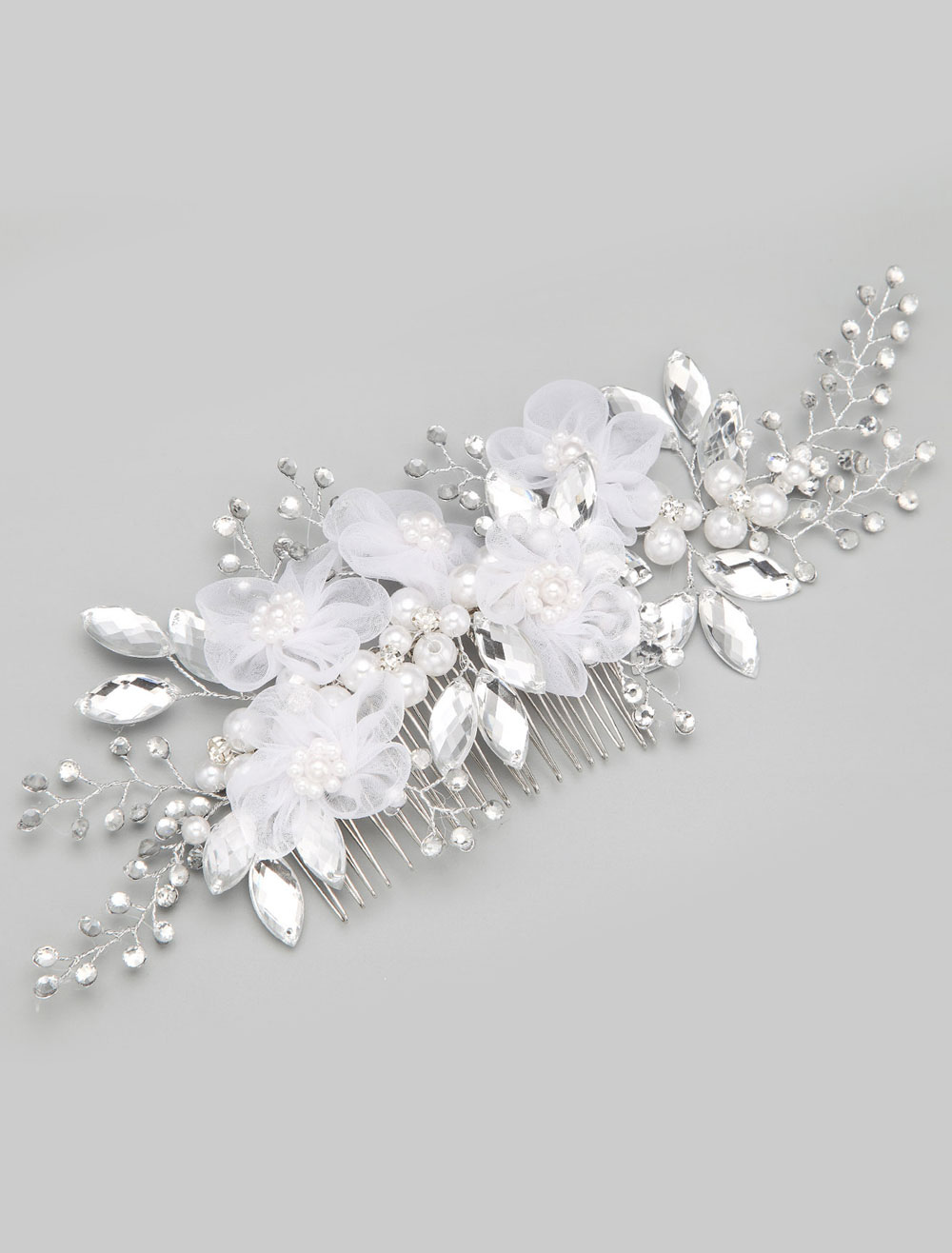 White Imitation Pearl Flowers Wedding Comb
