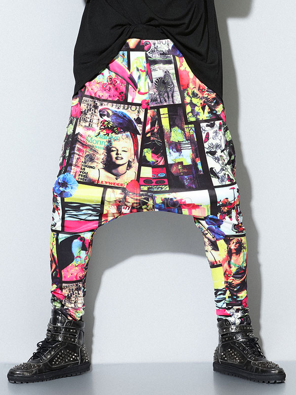 Multicolor Print Lycra Spandex Harem Pants for Men