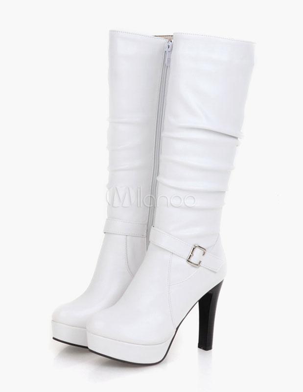 PU negro patente mediados ternero botas para las mujeres 1TZpsR