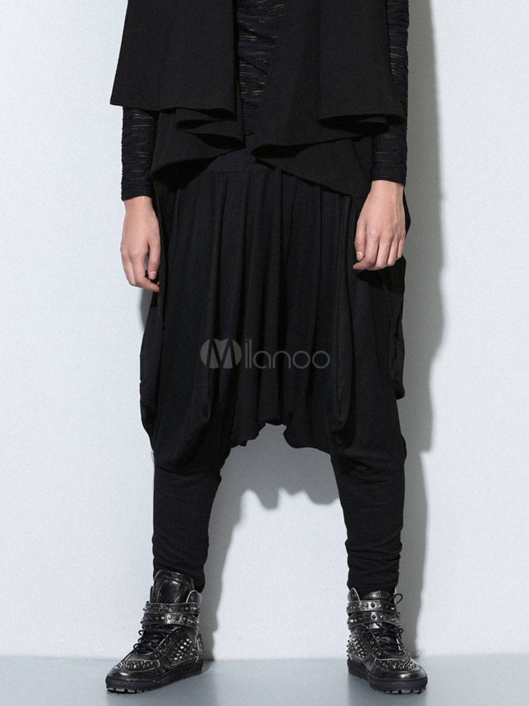 Black Side Draping Cotton Harem Pants for Men